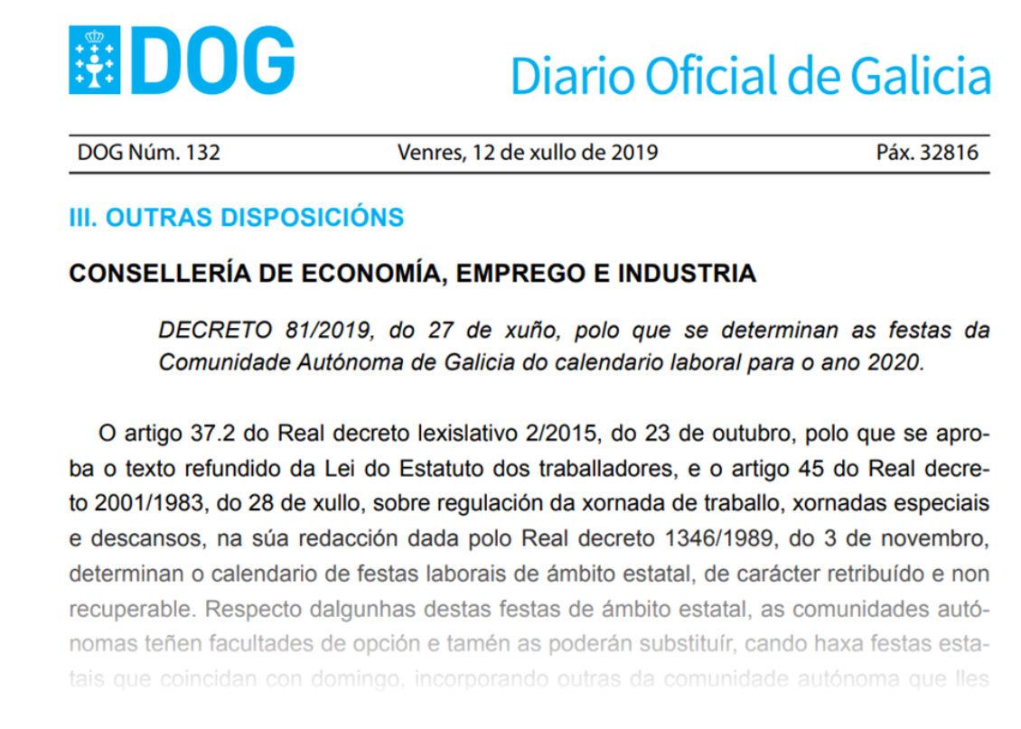 Calendario Diario 2020.Decreto 81 2019 Por El Que Se Determinan Las Fiestas Del